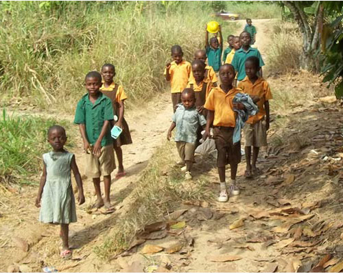 Kids in Ghana on the way to school!