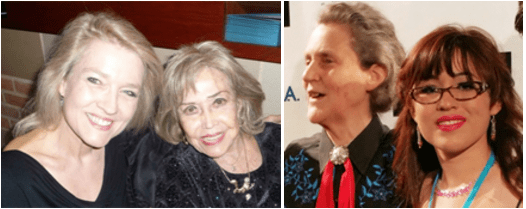 Photo on left: Ruth Elliott and June Foray at the Annie Awards, 2013. On right: the famous Temple Grandin and Dani Bowman at a conference of AutismWorksNow, 2015.