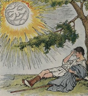 The Sun shining, makes the traveller remove his cloak.