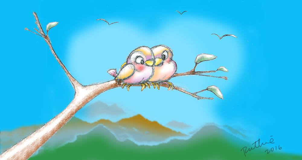 sketch of two lovebirds snuggling on a branch
